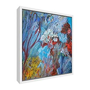 Feel Good Art Giclee Printed Canvas with Solid White Wooden Frame Surround &ltColours Galore&gt 44 x 34 x 3cm (Medium), Wood Multicoloured, 42 x 42 cm