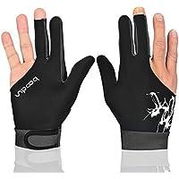 DDG EDMMS - Guantes de billar para piscina, 3 dedos, guantes de billar, guantes de billar de alta calidad, accesorios para billar, 1 pieza negra, 5 colores
