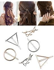 Golden Rule Haar Clips minimalistisch Dainty Haarspangen für Frauen Hohl Geometrische Metall Hair Pins Mädchen Haar Zubehör Klemmen Baum Zweige, Kreis, Dreieck Design (6pcs)