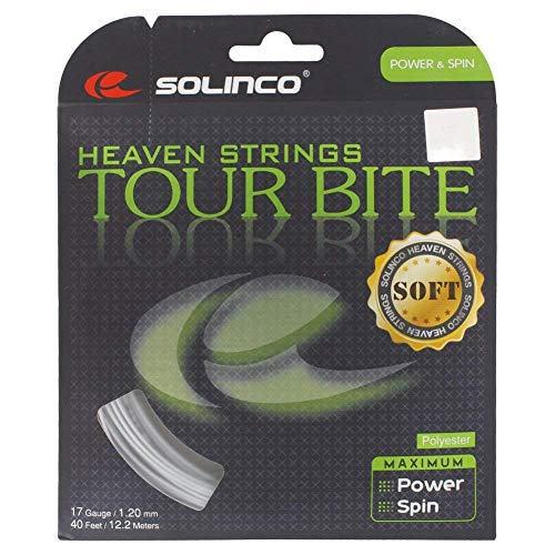 Solinco Tour Bite Soft 4-seitiges Poly (Polyester) 16/16L/17/18 Gauge Saitensets in Multi-Packs Spin, Kontrolle und Haltbarkeit (2-4-6-8 Packungen), Unisex, Tour Bite Soft, 17 Gauge, 4 Pack (Generationen Topspin)