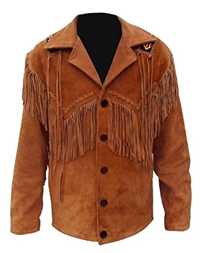 Mens Brown Western Cowboy Real Suede Leather Jackets for Sale 07 XL -