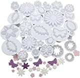 Andrew James 32pc Plunger Cutter Set For Icing, Sugarcraft, Cake Decorating - Designs Include Flowers, Hearts, Butterflies, Snowflakes, Stars - Includes 2 Year Warranty