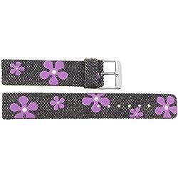 Watch Strap in Jeans Jeans - 18mm - - buckle in Silver stainless steel - B18JeaItr52S