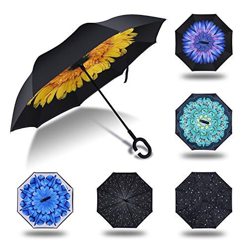HISEASUN Parapluie Inversé Innovant Anti-UV Double Couche Coupe-Vent Mains Libres poignée en Forme C - Idéal pour Voyage et Voiture(Yellow Daisy)