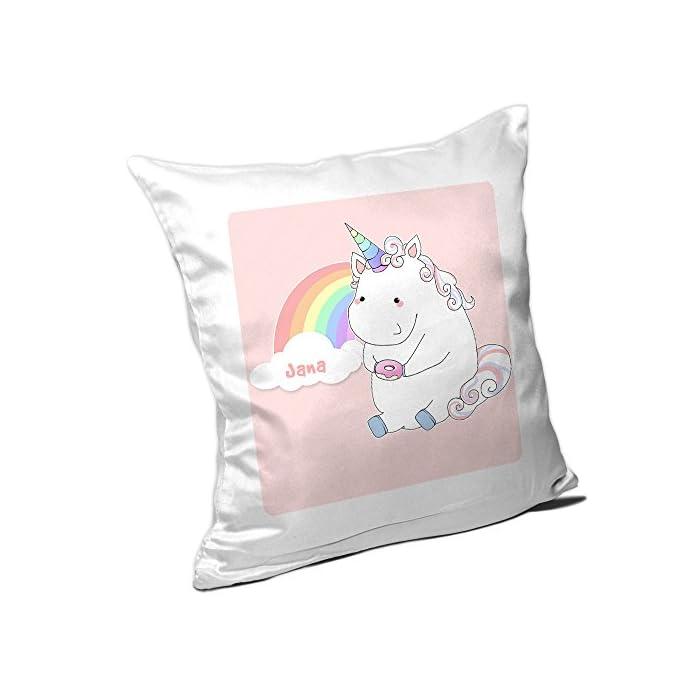 Kissen mit Namen Jana und schönem Einhorn-Motiv mit Donut und Regenbogen für Mädchen | Namenskissen personalisiert…