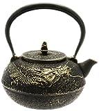 Kotobuki Japanische Eisen Teekanne, schwarz und gold dragon