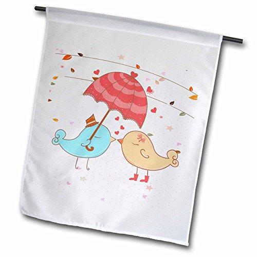 3dRose FL 106884_ 1Cute Valentine Love Birds Kissing unter Regenschirm Vector Cartoon Garten Flagge, 12von 18