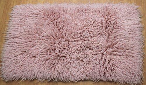 Premium griechischer Flokati Teppich, Hochflor, Pastell-Rosa, 70 x 120 cm - 2000gsm
