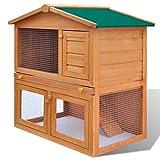 vidaXL Gabbia coniglio all'aperto Casa piccoli animali domestici 3 porte Legno