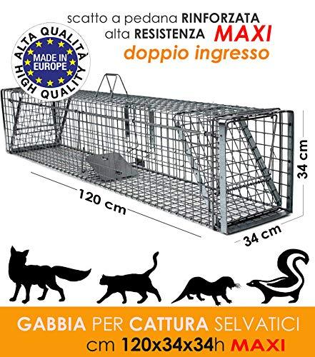 MEDICALMONO GABBIA TRAPPOLA PROFESSIONALE A DUE ENTRATE RINFORZATA E ZINCATA DI ALTA QUALITA' PER LA CATTURA DI ANIMALI MEDI: GATTO, VOLPE, NUTRIA, MARMOTTA. CM 120x34x34 H - PRODOTTO IN EUROPA - EU