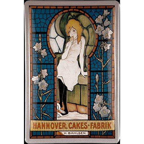 Hannoversche Cakes Fabrik Bahlsen Jugendstil Blechschild, 20 x 30 cm