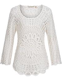 Häkeltop | Stricktop | Lochstrick Shirt für Damen von Fresh Made - angesagter Häkel Pulli im Hippie Style in Weiß, Gr. S/M