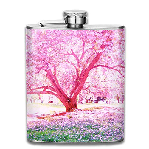Rundafuwu Schnapsflasche, Cherry Blossom Stainless Steel Flask Personalized Flask Whiskey Vodka Alcohol Hip Flask for Men Travel Climbing Fishing Camping,7OZ -