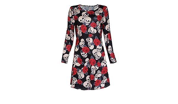New Womens Ladies Halloween Skull Long Sleeve Party Mini Dress Women Fancy Costume Vampire Horror Blood Smock Swing Casual Loose Short Ruched Flattering ...