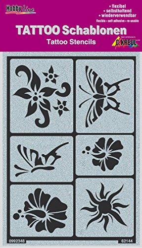 KREUL Hobby Line Tattoo Schablone Sonne, Blumen, Schmetterlinge, 1 Stück