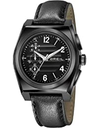amazon co uk breil watches outlet watches breil men s quartz watch black dial chronograph display and black leather strap