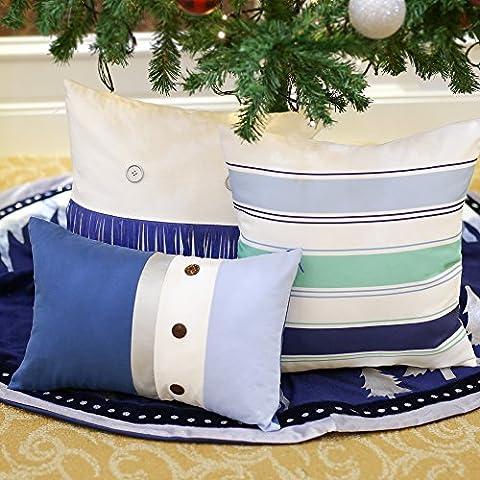 Valery Madelyn Winter Silber blau Weihnachtskissenbezug für Haus Sofa Dekoration, Baumwolle Leinen Deko mit Metall Oberflächen Lederfransen Holzknöpfe Themen mit Baumrock (nicht inkl.), (Blaue Gestreifte Kissen)