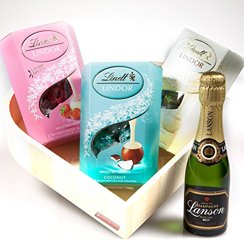 Lindt Truffles and Lanson Champagne Romantic Love Wooden Heart Hamper - Champagne and Truffles - By Moreton Gifts