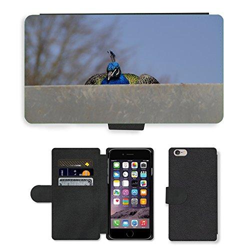 Just Mobile pour Hot Style Téléphone portable étui portefeuille en cuir PU avec fente pour carte//m00140110Oiseau Paon mâles Fermeture Position accroupie//Apple iPhone 6Plus 14cm