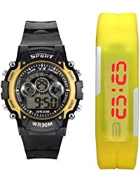 Capture Fashion Black and Yellow Analog and Digital Watch - Pack of 2