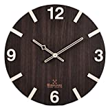 #10: BSQUARE 12 inches Handcrafted Wooden Wall Clock | No Plastic | No Vinyl Print | Only Wood