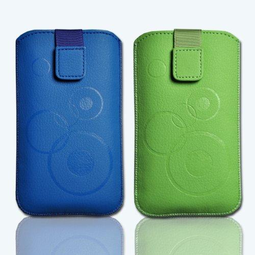Handy Taschen 2er Set Bundle Hülle Case blau / grün Set8 Gr.3 für Samsung Galaxy Fame S6810 / Samsung Galaxy Music S6010 / Alcatel 385D / Alcatel One Touch Fire / LG Optimus L3 II E430 / Sony Xperia E / ZTE Open / Samsung Galaxy Star S5280