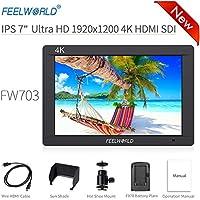 "Feelworld FW703 Kamera Monitor 7"" 4K HDMI SDI Ultra HD 1920x1200 Field Video LCD IPS Bildschirm 1200:1 Hohes Kontrast für Camera, Steady Cam, DSLR Rig, Camcorder Kit, Handheld Stabilisator"