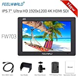 Feelworld FW703 Caméra Monitor 7' 4K HDMI SDI Ultra HD 1920x1200 Champ Vidéo LCD IPS Screen 1200:1 Contraste élevé pour Steady Cam, DSLR Rig, Kit Caméscope, Stabilisateur de Poche