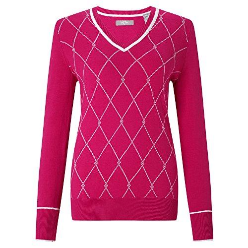 Callaway Golf Sweater Jacquard Jersey, Damen L Rosa Jersey Nylon Pullover