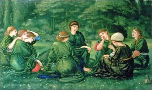 Poster 50 x 30 cm: Grüner Sommer von Edward Burne-Jones / Bridgeman Images - hochwertiger Kunstdruck, neues Kunstposter