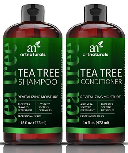 ArtNaturals Tea-Tree-Oil Shampoo and Conditioner Set - (2 x 16 Fl Oz / 473ml) – Sulfate Free – Made with Therapeutic Grade Essential Oil - Deep Cleansing for Dandruff, Dry Scalp and Itchy Hair