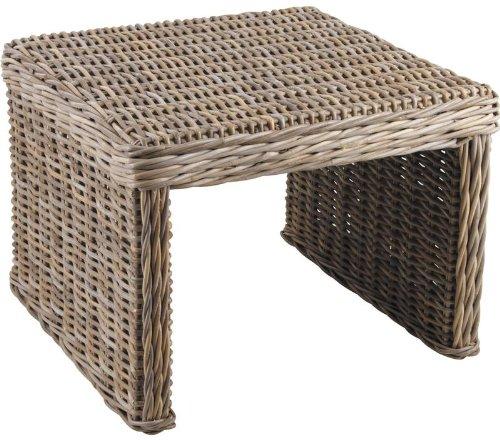 AUBRY GASPARD Table d'appoint carrée en poelet Gris 60x60x43cm