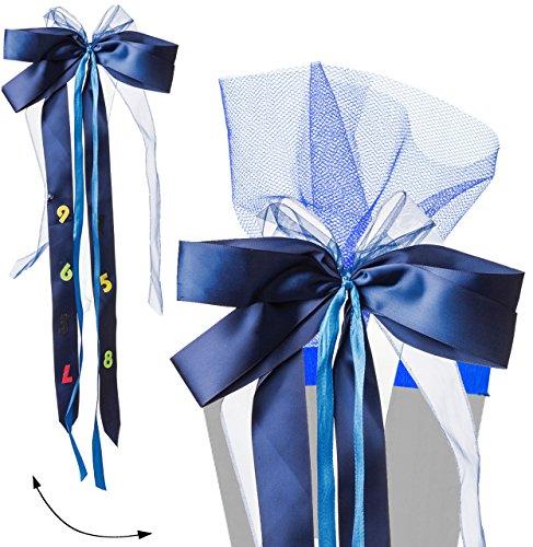 alles-meine.de GmbH große 3-D Schleife für Schultüten -  ABC - blau  - 24 cm breit u. 55 cm lang - für Geschenke und Zuckertüten - mit edlen Satin Bändern, Tüll & Bastband - Ge..