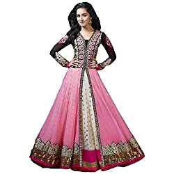Maxthon Fashion Women's Georgette Anarkali Unstitched Suit (Max_salwarsuits_dresses_2183_Pink)