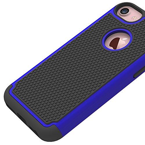 iPhone 7 Hülle, CMID Handy Hard Cover Hybrid Dual Layer Rugged Silikon Schutzhülle für iPhone 7 (Schwarz) Dunkelblau