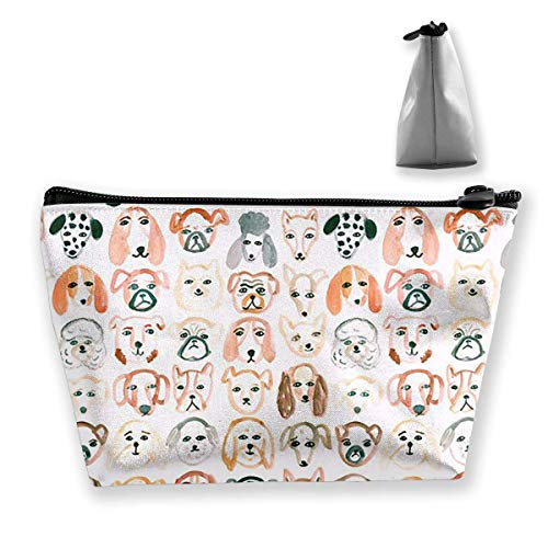 (Dog Party Women Cosmetic Bags Portable Pouch Trapezoidal Storage Bag Travel Bag with Zipper)