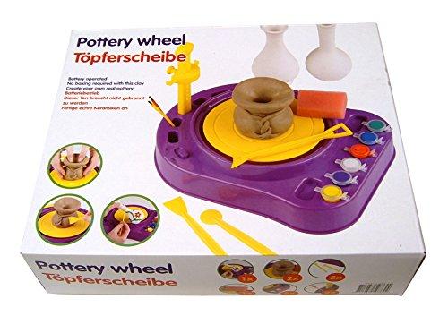 Eddy Toys Kinder TÖPFERSCHEIBE,Set mit Ton+Modellierspatel+Farben+Pinsel+Schwamm