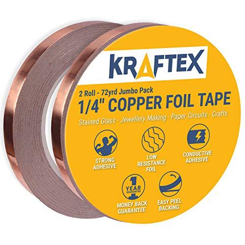 Cinta de cobre con adhesivo Conductor 1/4inch X 36yards–Vidriera, soldadura, reparaciones eléctricas,...