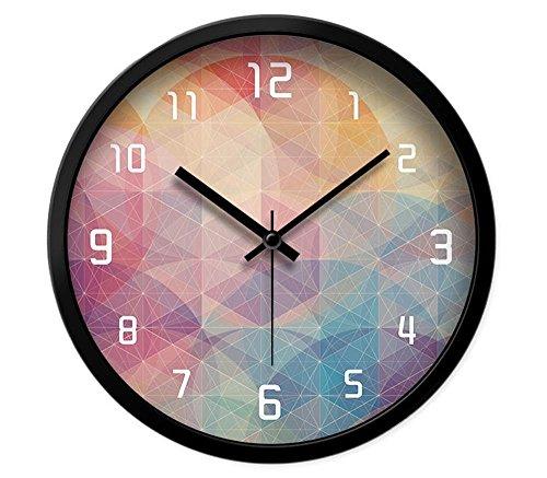 Preisvergleich Produktbild OOFYHOME Wanduhr Persönlichkeit Uhr Mode Uhr Stille Nicht tickende Runde Uhr Wand Dekoration für Wohnzimmer Schlafzimmer Büro Küche-Metallrahmen , S