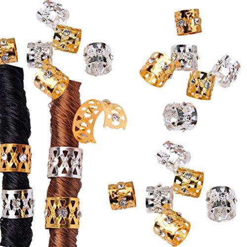 cuhair 30(15Stück Silber 15Stück gold) Punk Vintage Haar Clip Dreadlock-Perlen Coil Manschetten Haar Braid Spirale für Frauen Mädchen Haar Zubehör