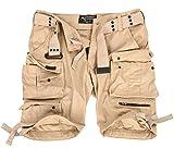 A. Salvarini Herren Designer Cargo Shorts Cargoshorts Kurze Hose Gürtel AS079 [AS-079-Beige-W32]