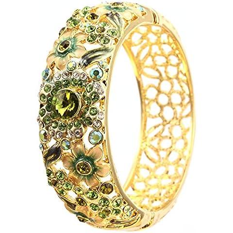 City Ouna® nueva moda cristal austriaco con elementos Swarovski Pulseras para mujeres niñas - 18K Rose Flor chapado oro joyería de la aleación, de Color