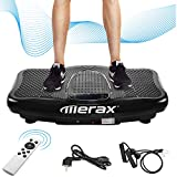 Merax Vibrationsplatte Profi mit 2 Kraftvoller motoren 2D Wipp Vibration/Bluetooth Musik inkl. Lautsprecher Extra große Fläche/Trainingsbänder/Fernbedienung im Fitnessgerät schwarz