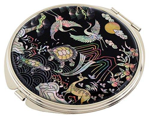 Mère de Pearl 10 Symboles de longévité Design Double Compact Loupe Miroir de poche Sac de Maquillage Beauté