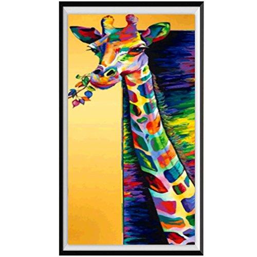 Koly Peinture en Strass 5D DIY Broderie de diamants Point de Croix en Résine Décoration de Maison Salon Chambre Restaurant Diamond Painting Kits Décoration Créatif et imaginatif (Girafe, 20x50cm)