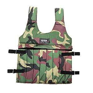 Lixada Suten Camouflage Veste lestée ajustable pour entraînement de formation