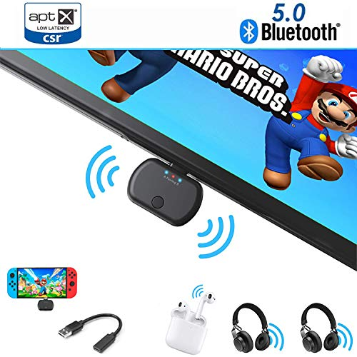 Bluetooth Audio für Nintendo Switch, ViSun BT26 Dual Link Wireless Bluetooth 5.0 APTX Low Latency USB Type-C Stereo A2DP Musik Transmitter Adapter, Plug & Play, für PC PS4 Bose Sony Gaming Kopfhörer