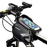 """FlexDin Doppia Borsa Bici Telaio Impermeabile All'aperto, Custodia a Sacchetto e Touch Supporto Bicicletta Marsupio 2L Borse per iPhone Samsung Cellulare da 5.5"""" a 6.0"""", Nero"""