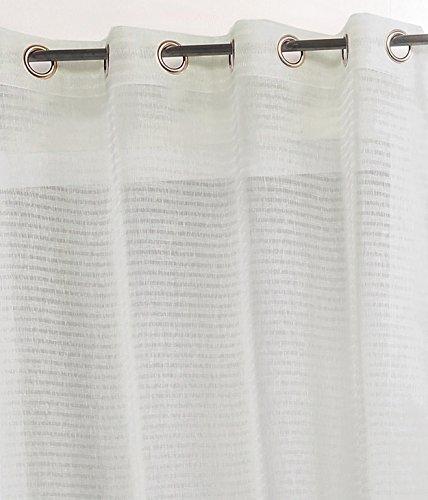Linder Rideau Rayure à Œillet Polyester Gris 145 x 240 cm