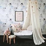 Baldachin für Kinderbetten, runde Aufhängung, Baumwoll- / Leinenstoff, Moskitonetz, Raumdekoration, Vorhang weiß